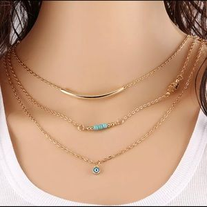 Jewelry - Multi-layer Turquoise & Gold Tone Necklace